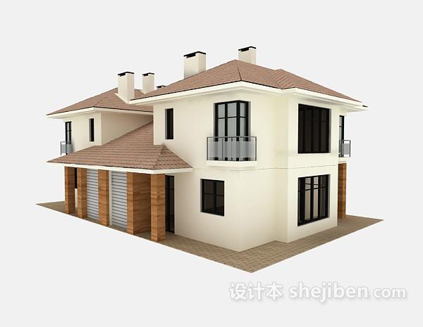 白色别墅3d模型下载