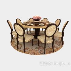 田园风格小圆形餐桌3d模型下载