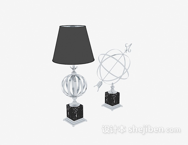 现代台灯地球仪摆件3d模型