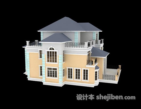 白色别墅3d模型免费下载