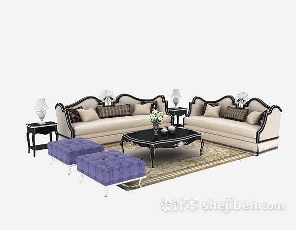 舒适时尚型欧式多人沙发3D模型免费下载