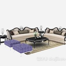 舒适时尚型欧式多人沙发免费3d模型下载