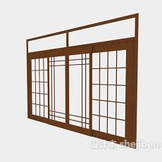 玻璃双开平开门3d模型下载
