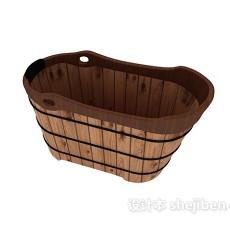 木桶浴缸3d模型下载