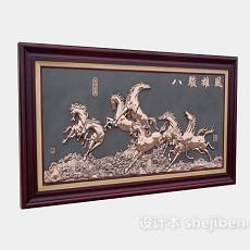 中式挂画3d模型下载