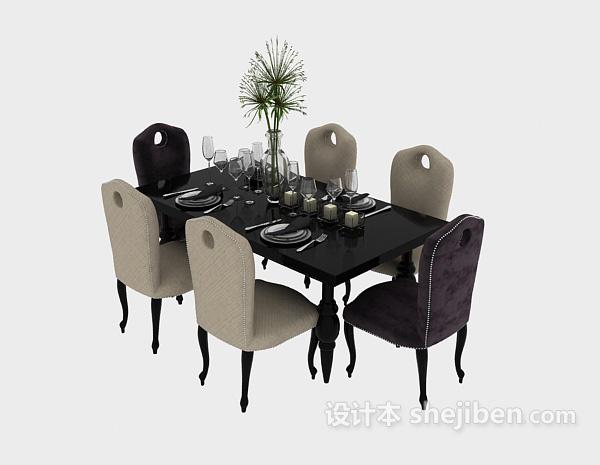 欧式清新自然餐桌3d模型免费下载