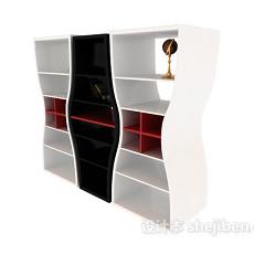 黑白红经典色系博古架展示柜3d模型下载