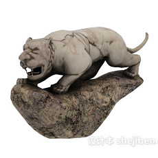 十二生肖的雕塑老虎3d模型下载