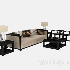 现代感十足多人沙发茶几组合max3d模型下载