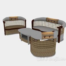 中式铁艺休闲藤桌椅组合家具3d模型下载