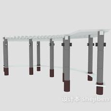 弧形室外长廊3d模型下载