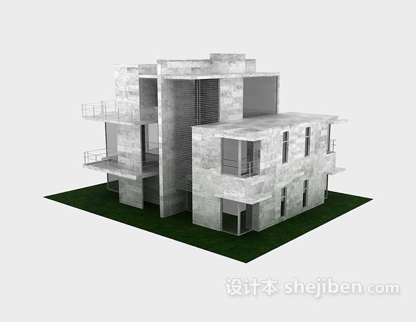 现代风格白色别墅3d模型下载