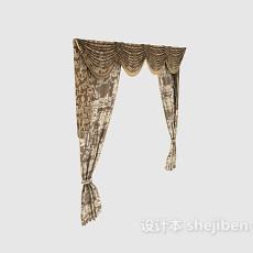 欧式古典花纹窗帘3d模型下载