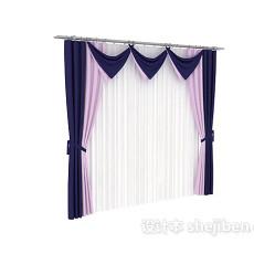 紫色窗帘max窗帘3d模型下载