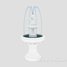 白色欧式喷泉-室内喷泉3d模型下载