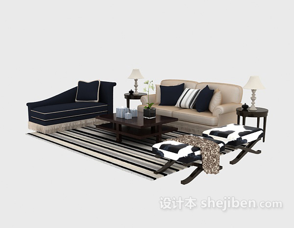 简洁又不缺乏时尚的欧式多人沙发3D模型免费下载