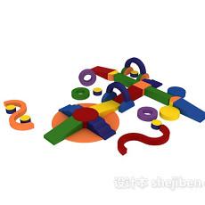 蓝色儿童玩具 3d模型下载