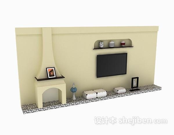 白色电视墙模型