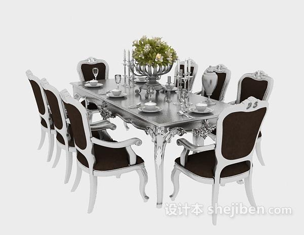 咖啡纯白搭配欧式温馨餐桌3D模型免费下载