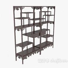 经典中式博古架展示柜3d模型下载