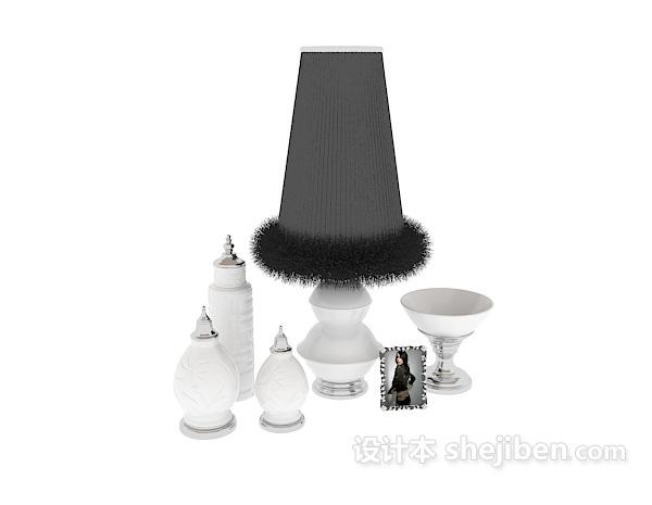 黑色灯罩台灯3d模型下载