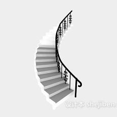 家用阁楼钢木旋转楼梯3d模型下载