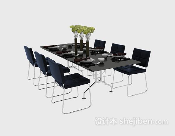 现代纯黑色大气餐桌