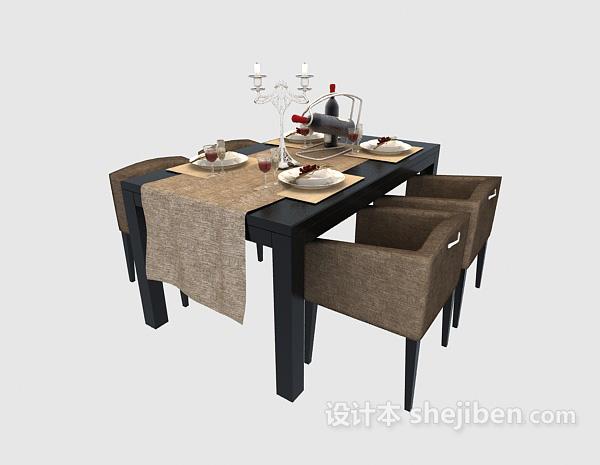 低调奢华餐桌3d模型免费下载