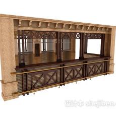 欧式酒吧吧台3d模型下载