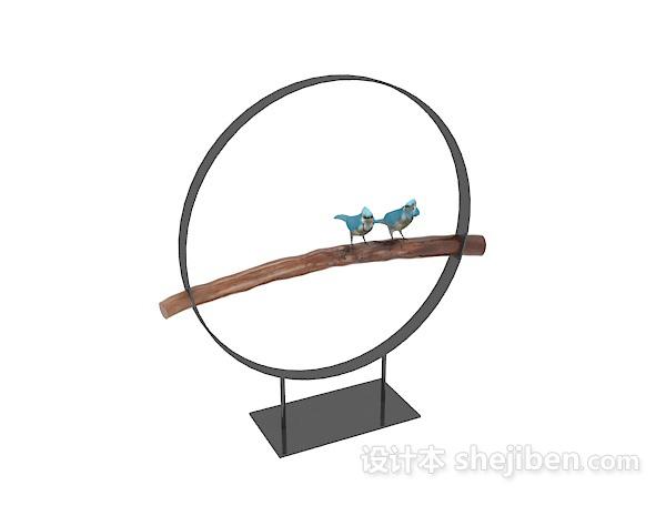 中式圆形小鸟摆件3d模型下载