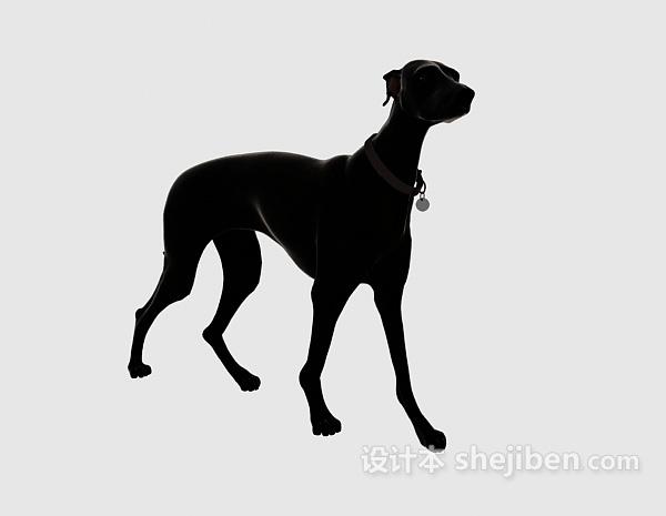 黑色狗动物模型 3d下载