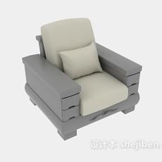 木质古典中式单人实木沙发3d模型下载