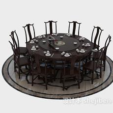 10人圆餐桌3d模型下载
