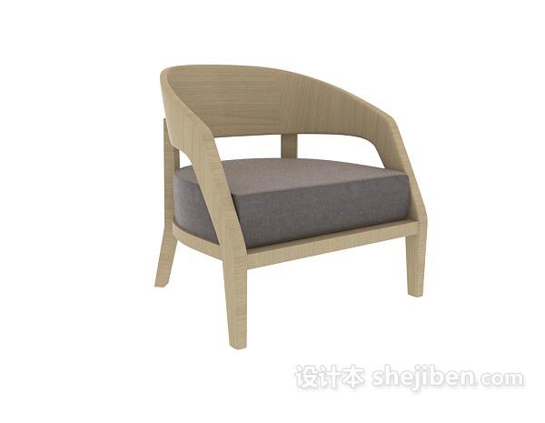 新中式单椅沙发3d模型下载