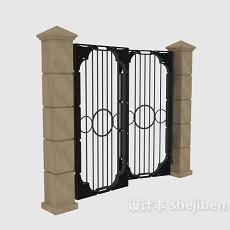 中式庭院大门3d模型下载