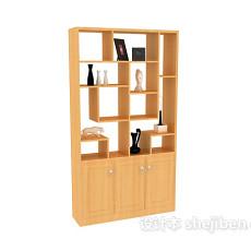 木质现代博古架展示柜3d模型下载