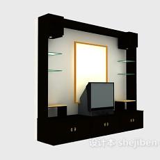 中式电视装饰柜3d模型下载