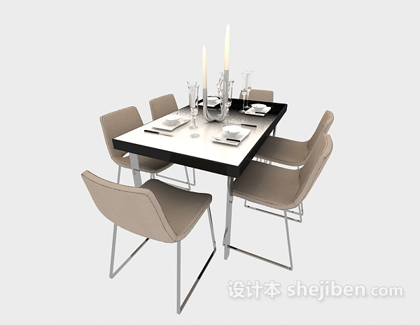洁白清新舒适餐桌3d模型免费下载