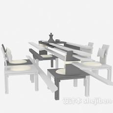 中式桌椅组合家具3d模型下载