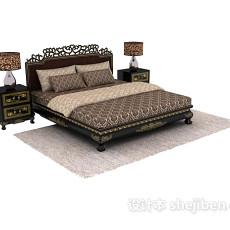 中式雕花床3d模型下载