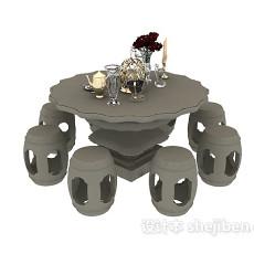 石制桌椅组合3d模型下载