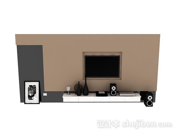 现代风格电视墙 3d模型下载