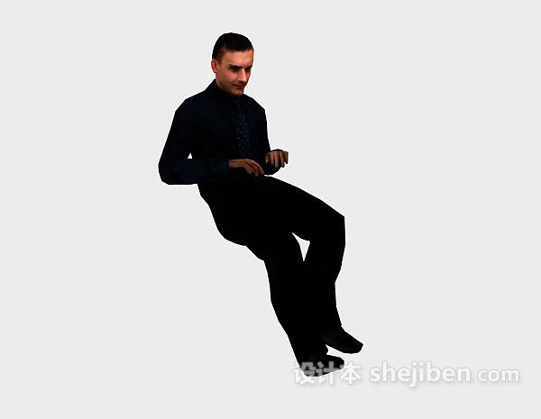 男人坐姿3dmax人物模型下载
