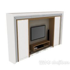 欧式风格电视墙3d模型下载