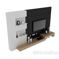 黑色电视墙3d模型下载