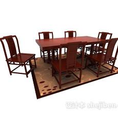 原木板桌3d模型下载