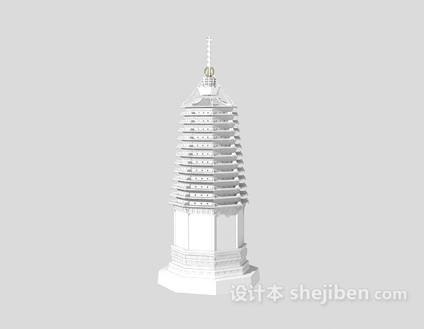 古塔室外3d建筑模型下载