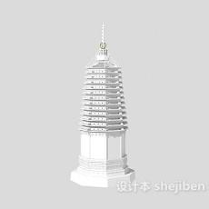 古塔室外建筑3d模型下载