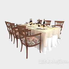 美式风格餐桌桌布3d模型下载