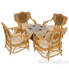 休闲藤桌藤椅组合桌布3d模型下载